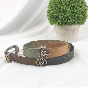 VTG Brighton multi-colored leather belt metal